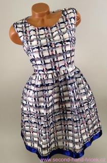 3635d337c1d Dámské modro-bílo-růžové šaty s kytičkami Zibi London vel.