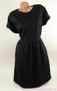 fbe49cde63c Dámské černé lněné šaty se spadlými rukávky La Redoute vel. 40 empty